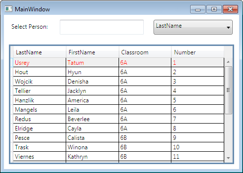 Andriescu WPF DataGrid Search Row on Column MainWindow MVVM